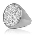 Stainless Steel Pave Set Cubic Zirconia Big Chunky Cocktail Ring