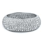 Pave Full Eternity Sterling Silver CZ Wedding Band