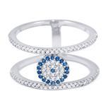 Sterling Silver CZ Evil Eye Ring