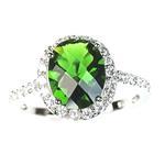 Sterling Silver Oval Emerald Green Color Halo Se