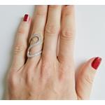 Wave CZ Fashion Cocktail Silver Ring