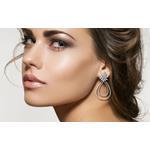 Big Designer Black Chandelier Sterling Silver CZ Earrings Drop Cubic Zirconia
