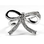 Sterling Silver Pave Ribbon Bow CZ Silver