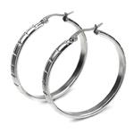 316L Stainless Steel Round Big Hoop Earring W Grooved Emerald Grids, 30Mm