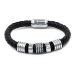 black leather men bracelet with stainless steel accents