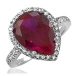 Pear Shaped Red Ruby CZ Sterling Silver Ring Pave Micro Pave Accents Halo Set