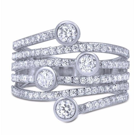 Micro Pave Bezel Set CZ Sterling Silver Big Fashion Cocktail Anniversary Ring