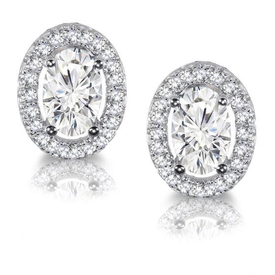 Oval cut Halo stud earrings in Silver