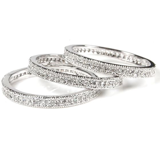 3 piece Stackable CZ Eternity Micro Pave Silver 92