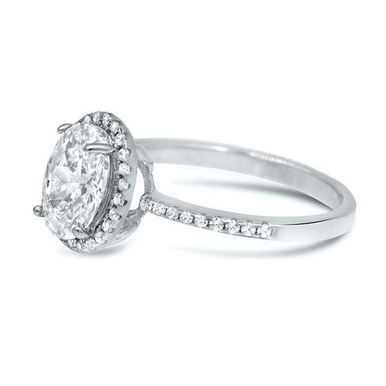 oval halo engagement silver ring cz 2.2 carat