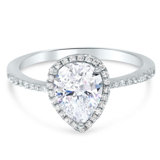 Sterling Silver Pear CZ Halo Engagement Wedding Pr