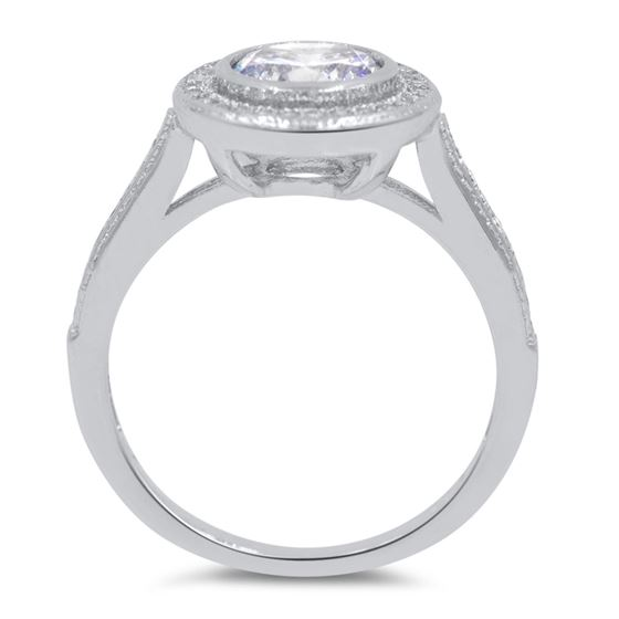 halo cubic zirconia round silver wedding ring