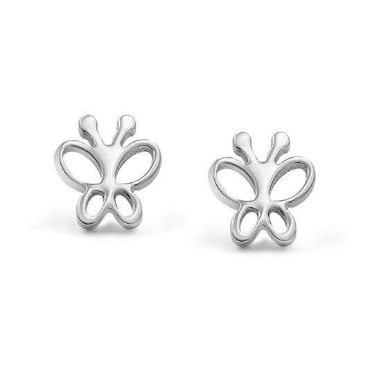 316L Surgical Stainless Steel Butterfly Safety Screwback Baby Girls Stud Earrings Studs, 8mm
