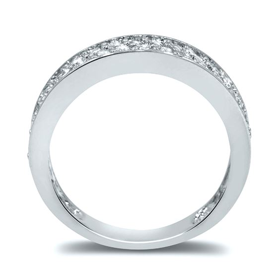 micro pave semi eternity cz wedding band in silver