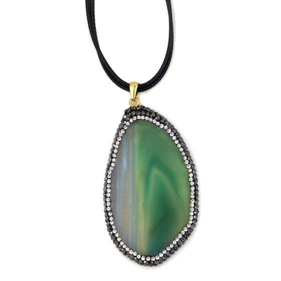 slice agate pendant on leather cord necklace