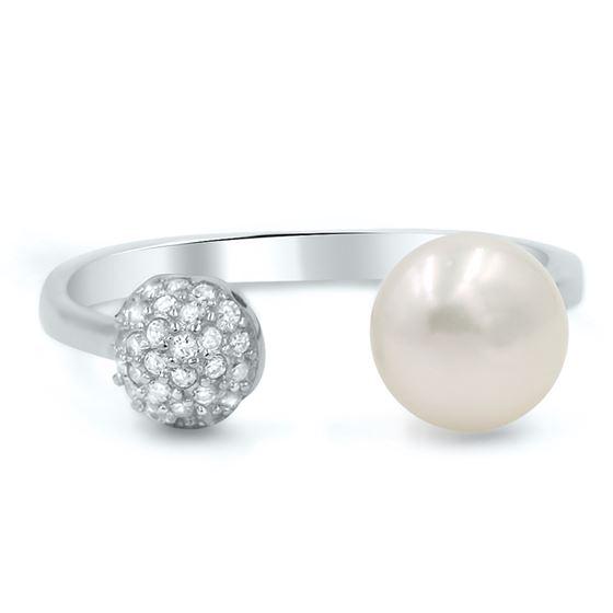 pearl & cubic zirconia open trendy ring
