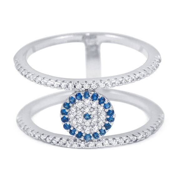 39a776070 Double bar evil eye pave silver cubic zirconia CZ ring Blue White