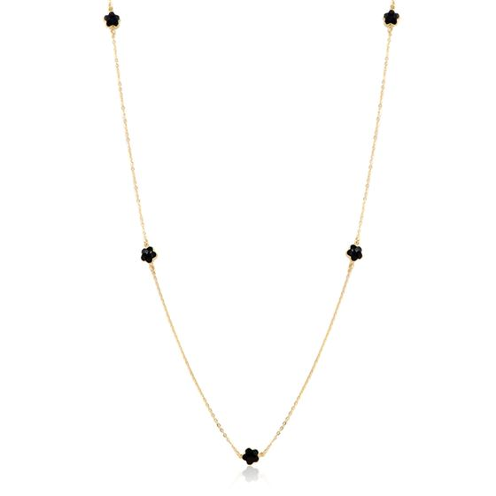 Long Chain Layer Station Necklace in 18K Gold Fill
