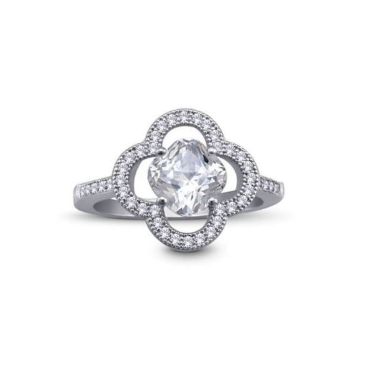 Sterling Silver Cushion Cut CZ Micro Pave Hal