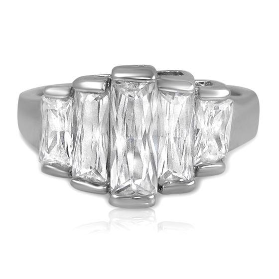 Baguette Cut CZ Fashion Statement Ring Emerald-1