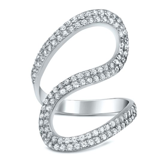 Sterling Silver Pave  CZ Wave  Cocktail Ring