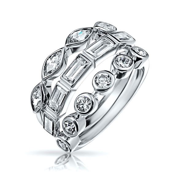 stackable 3 piece ring set baguette round marquise