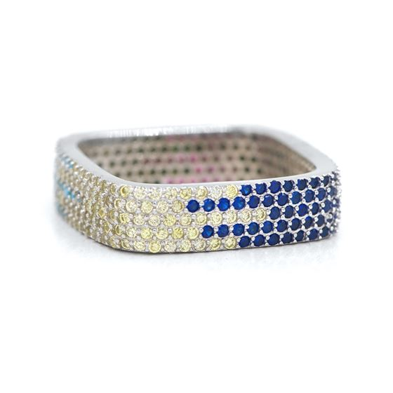 Multi color wide silver cz band