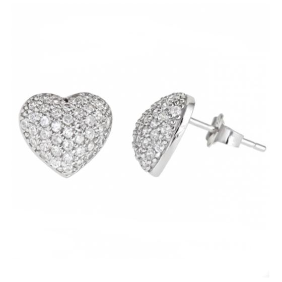 Sterling Silver Pave Heart CZ Stud Earrings 925