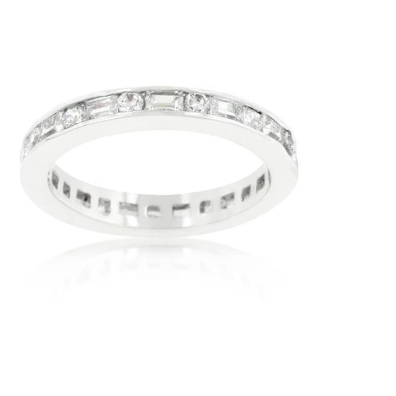 Alternating Baguette Round White CZ Sterling Sil