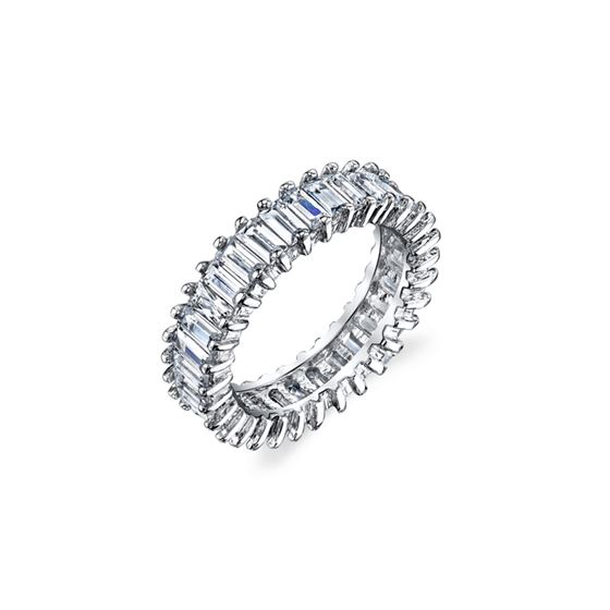 Baguette Cut White CZ Eternity Band in Sterling Si