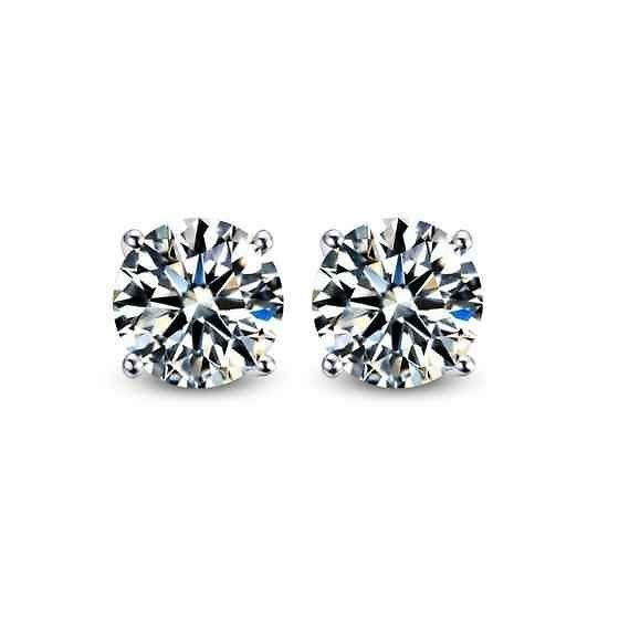 3b2c6215f Round Cut Cubic Zirconia CZ Sterling Silver Stud Earrings Women ...