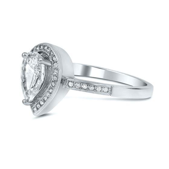 pear halo silver wedding ring