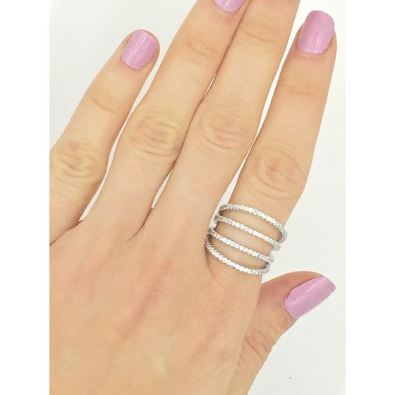 wide multi row micro pave statement fashion ring