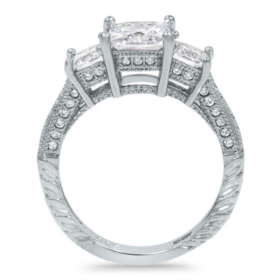 three stones princess cut silver engagement ring