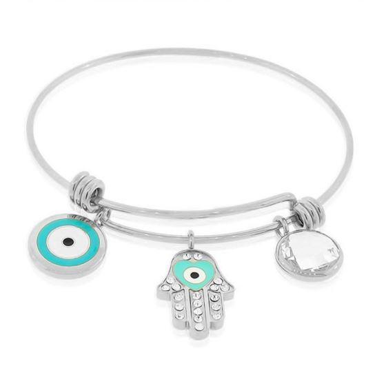 adjustable evil eye protection wire charm bangle bracelet