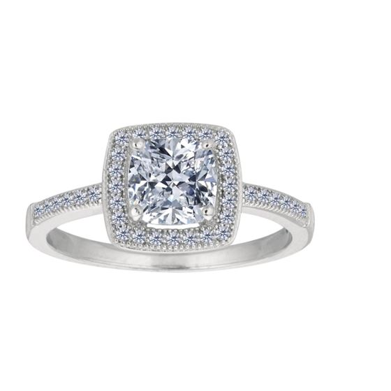 cushion halo pave cz silver engagement ring
