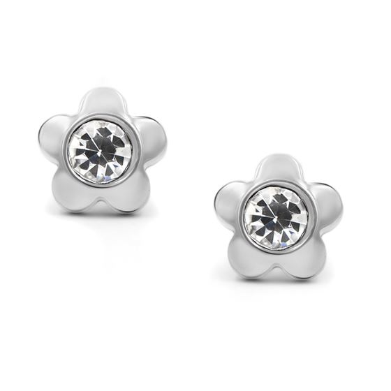 316L Surgical Stainless Steel Flower Cubic Zirconia Screwback Baby Girls Earrings Studs, 6mm