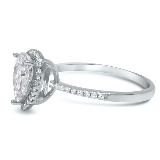 Pear Shaped cz Engagement Ring,