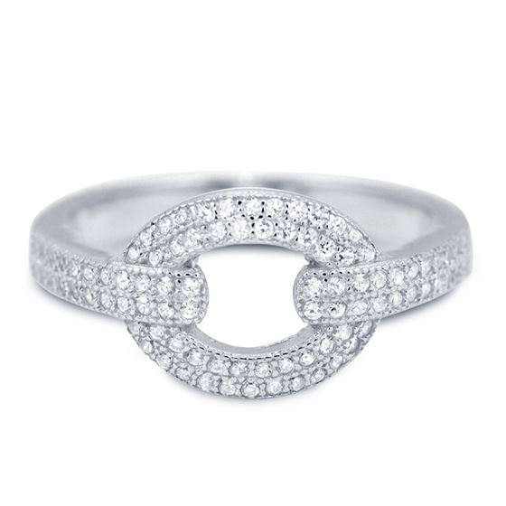 Modern Pave CZ Cocktail Silver Ring