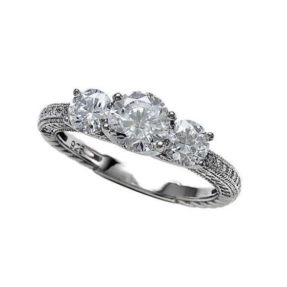 3 Stone Vintage Micro Pave CZ 925 Sterling Silver Engagement Ring Size 6,7,8,9