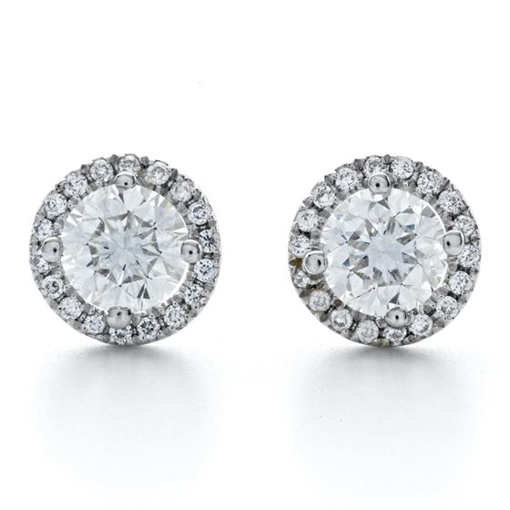 Classic Round Cut Halo Stud Earrings in Silver