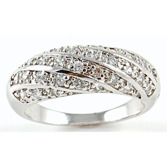 Micro Pave Woven CZ Band 925 Sterling Silver Anniversary Cocktail Ring Woman