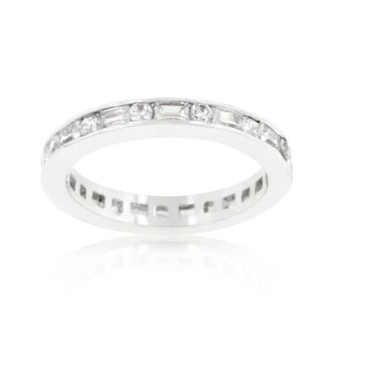 Alternating Baguette Round White CZ Sterling Silver Band Channel Set Stack Ring