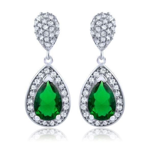 Emerald Pear Sterling Silver Micro Pave Cz Green Stone Earrings Chandelier Dropemerald