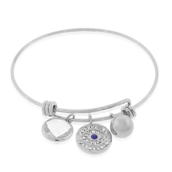 adjustable wire charm evil eye protection bracelet bangle stainless steel