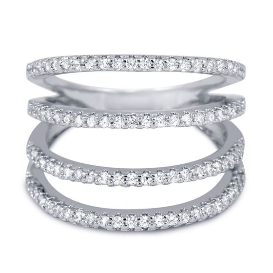 Mult-Row Knuckle CZ Ring in Sterling Silver Micro Pave Cubic Zirconia Four Row