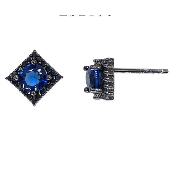 Blue Sapphire Princess Studs in Black Rhodium