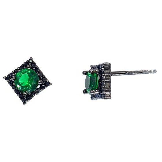 Emerald Princess Studs in Black Rhodium