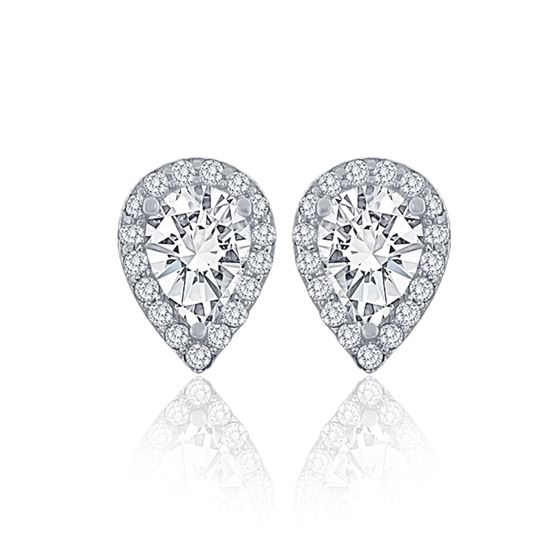 Pear Cut Halo Studs
