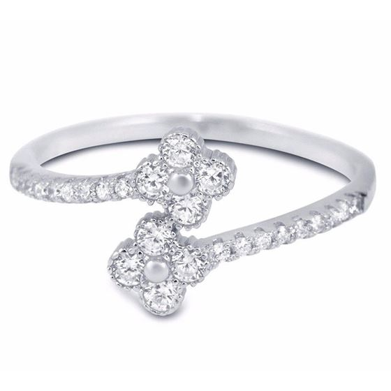 Clover Sterling Silver CZ Midi Ring Thin Stackable Rings Midi Knuckle 2 Flowers